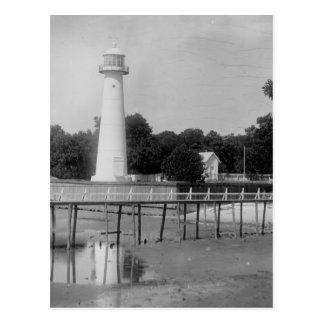 De Vintage Foto van de Vuurtoren van Biloxi Briefkaart