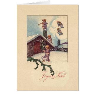 De vintage Franse Kerstkaart van Joyeux Noel Briefkaarten 0