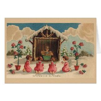 De vintage Franse Kerstkaart van Joyeux Noel Kaart