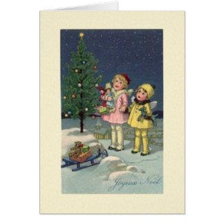 De vintage Franse Kerstkaart van Joyeux Noel Wenskaart
