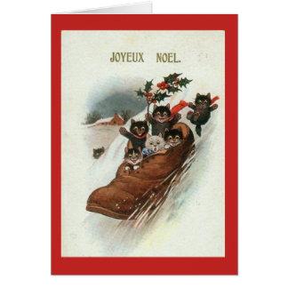 De vintage Franse Kerstkaart van Katten - Joyeux Kaart
