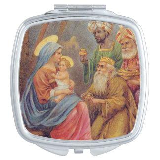 De Vintage Geboorte van Christus Jesus Reisspiegeltjes