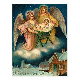 De vintage Geboorte van Christus van de Engel van Briefkaart