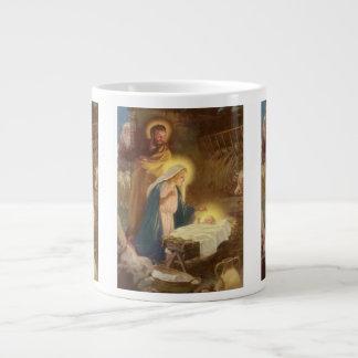 De vintage Geboorte van Christus van Kerstmis, Grote Koffiekop