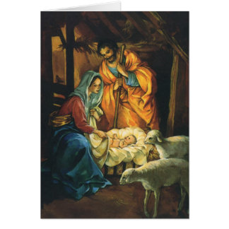 De vintage Geboorte van Christus van Kerstmis, Wenskaart
