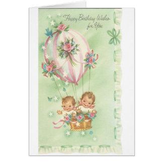 De vintage Gelukkige Ballon van de Verjaardag met Briefkaarten 0
