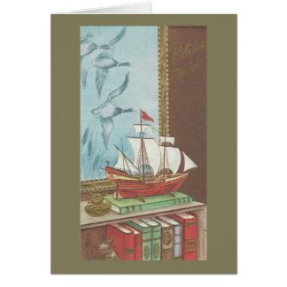 De vintage Gelukkige Boot en de Boeken van de Kaart