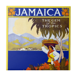 De vintage Gem van Jamaïca van de Reis van Tegeltje Vierkant Small