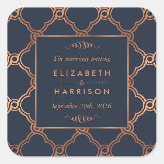 De vintage Geometrische Gunst van het Huwelijk van Vierkante Sticker