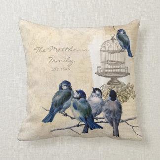 De vintage Gepersonaliseerde Familie van Birdcage Sierkussen