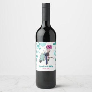 De vintage Gift van het Paar van Vespa van het Wijnetiket