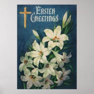 De vintage Godsdienstige Groeten van Pasen, de Poster