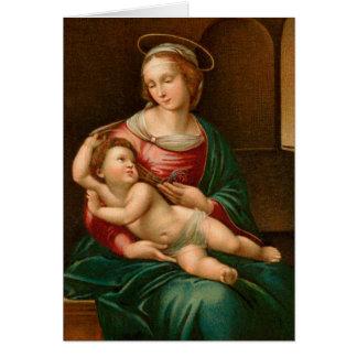 De vintage Godsdienstige Kerstkaart van Madonna en Briefkaarten 0