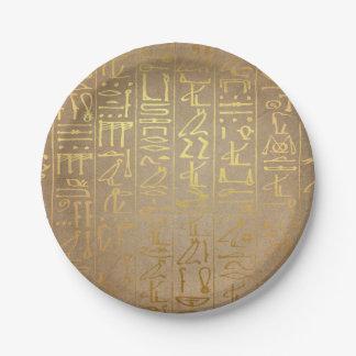 De vintage Gouden Egyptische Druk van het Document Papieren Bordje