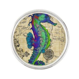 De Vintage Grappige Kaart van Seahorse Reverspeldje