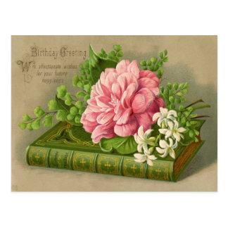 De vintage Groet van de Verjaardag wenst Bloemen Briefkaart