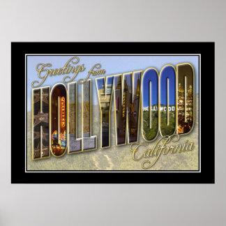 De vintage Groeten Hollywood Californië van de Dru Poster
