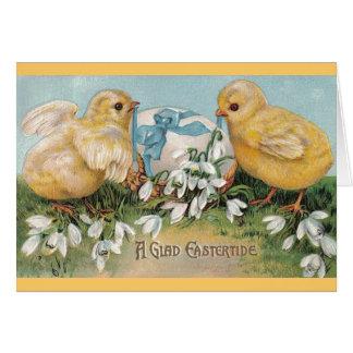 De vintage Groeten van Pasen (Kuikens & Ei) Wenskaart