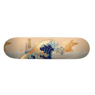 De Vintage, Grote Golf van PixDezines, Hokusai Skate Deck