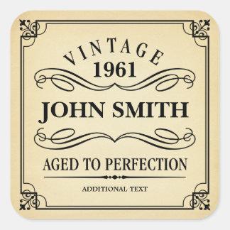 De vintage Gunst van de Partij van de Verjaardag Vierkante Sticker