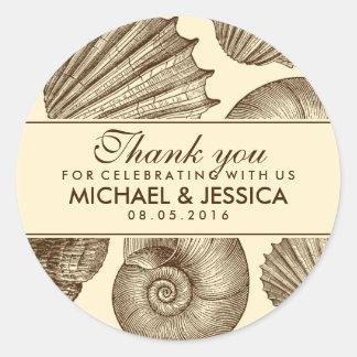 De vintage Gunst van het Huwelijk van de Zeeschelp Ronde Sticker