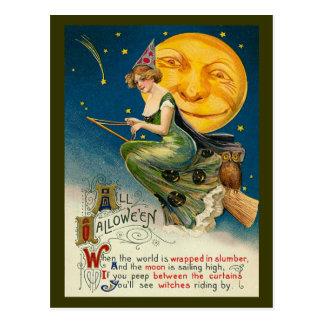 De vintage Heks die van Halloween op haar Magische Briefkaart