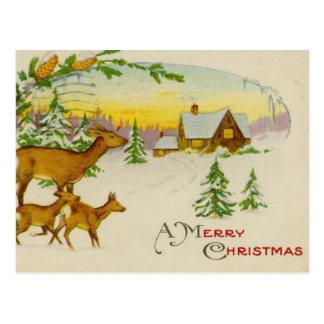 De vintage Herten van Kerstmis Briefkaart
