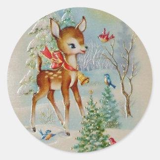 De vintage Herten van Kerstmis van het Baby Ronde Sticker