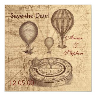 De vintage hete luchtballons bewaren de Datum 13,3x13,3 Vierkante Uitnodiging Kaart