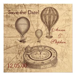 De vintage hete luchtballons bewaren de Datum Uitnodigingen