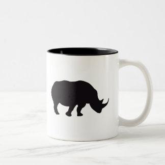 De Vintage Houten Gravure van de rinoceros Tweekleurige Koffiemok