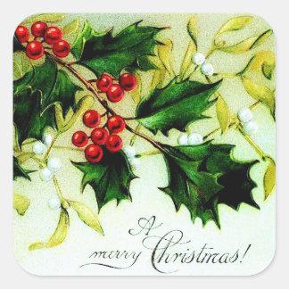 De vintage Hulst van Kerstmis Vierkante Sticker