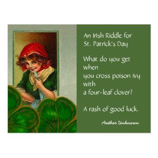 De vintage Ierse Riddle St Patricks Briefkaarten