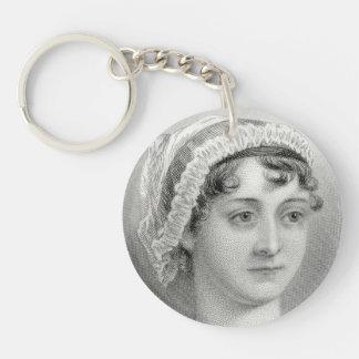 De vintage Illustratie Keychain van Jane Austen Sleutelhanger