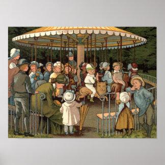 De vintage Illustratie van de Carrousel Poster