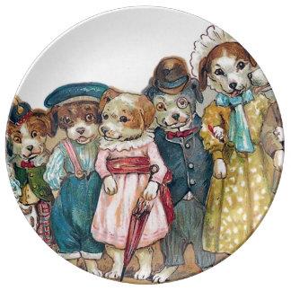 De vintage Illustratie van de Familie van de Hond Porseleinen Bord