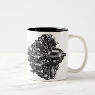 De vintage Illustratie van de Motor van het Tweekleurige Koffiemok