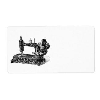 De vintage Illustratie van de Naaimachine 1800s Verzendlabel