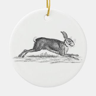 De vintage Illustratie van het Konijn 1800s van Rond Keramisch Ornament