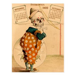 De Vintage Illustratie van het Skelet van de clown Briefkaart