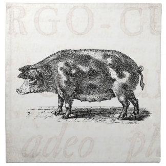 De vintage Illustratie van het Varken op het Oude Katoenen Servetten