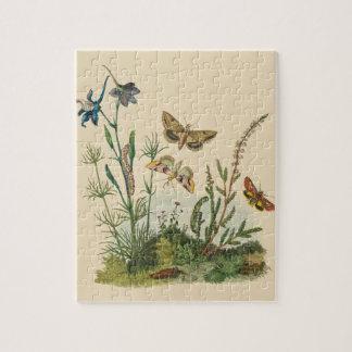 De vintage Insecten van de Tuin, Vlinders, Puzzel