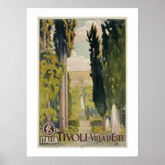 De vintage Italiaanse advertentie Tivoli Lazio Poster