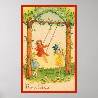 De vintage Italiaanse Groet Buona Pasqua van Pasen Poster