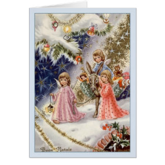 De vintage Italiaanse Kerstkaart van Buon Natale Kaart