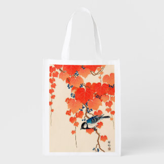 De vintage Japanse Vogel van de Vlaamse gaai en de Boodschappentas