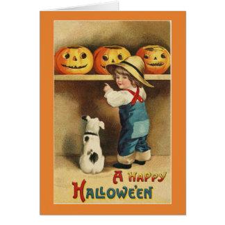 De vintage Jongen van Halloween Kaart