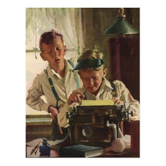 De vintage Journalisten van de Krant van de Jongen Briefkaart