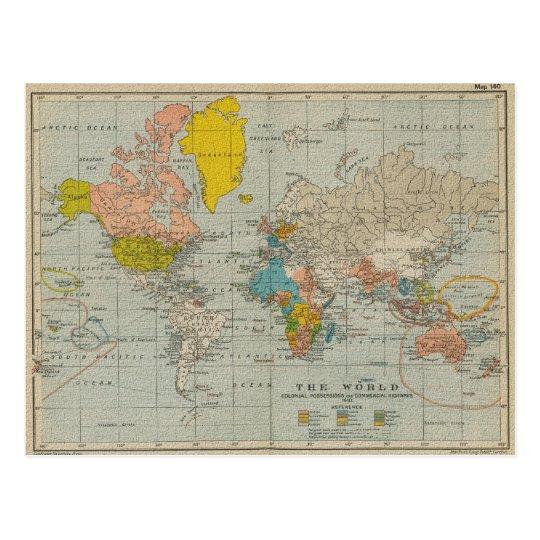 De vintage kaart 1910 van de wereld - Vintage bank thuis van de wereld ...