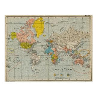 De vintage Kaart 1910 van de Wereld Wenskaarten
